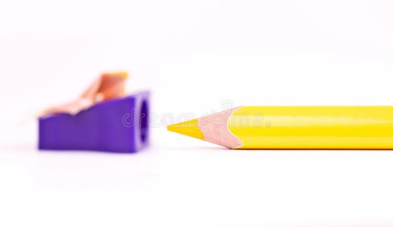 желтый цвет точилки для карандашей стоковые изображения