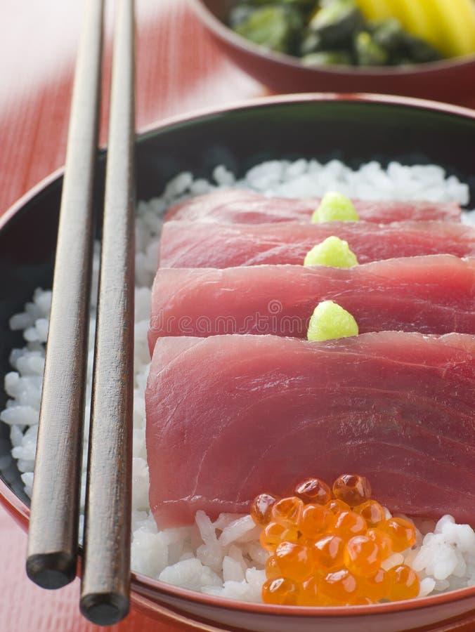 желтый цвет туны sashimi козуль риса ребра salmon стоковые изображения rf