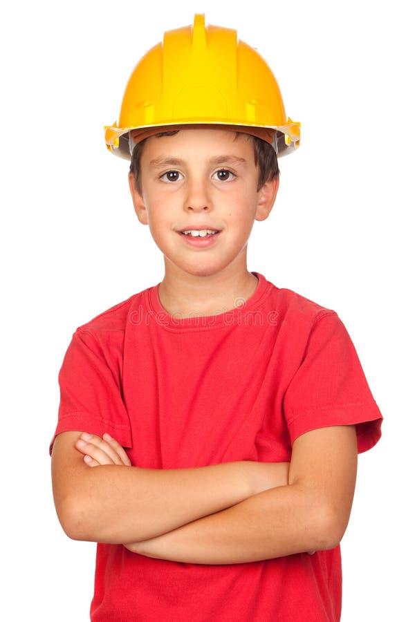 желтый цвет шлема ребенка смешной стоковое изображение rf