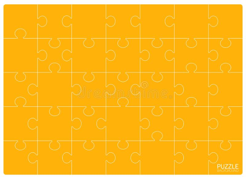 Желтый шаблон решетки головоломок Мозаика 24 части иллюстрация вектора