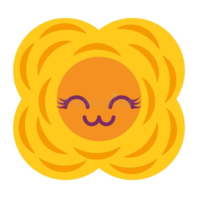Желтый шарж kawaii цветка естественный иллюстрация вектора
