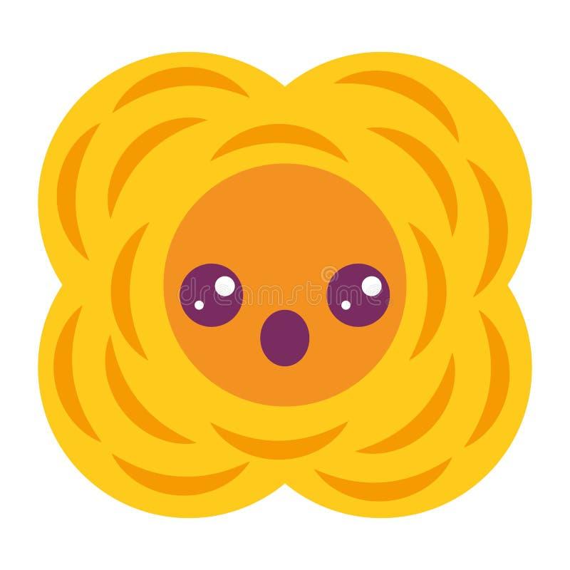 Желтый шарж kawaii цветка естественный иллюстрация штока