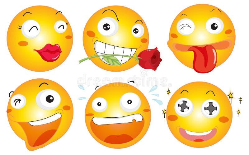 Желтый шарик с различными выражениями лица иллюстрация вектора