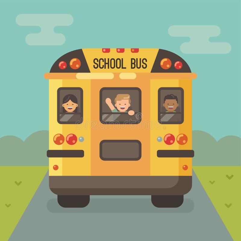 Желтый школьный автобус на дороге с 3 детьми иллюстрация штока