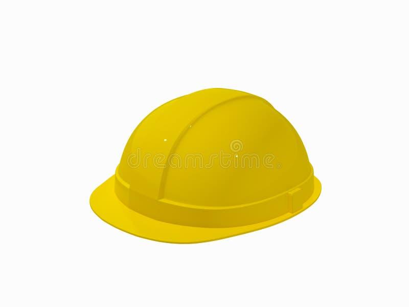 Желтый шлем на белой предпосылке стоковые фото