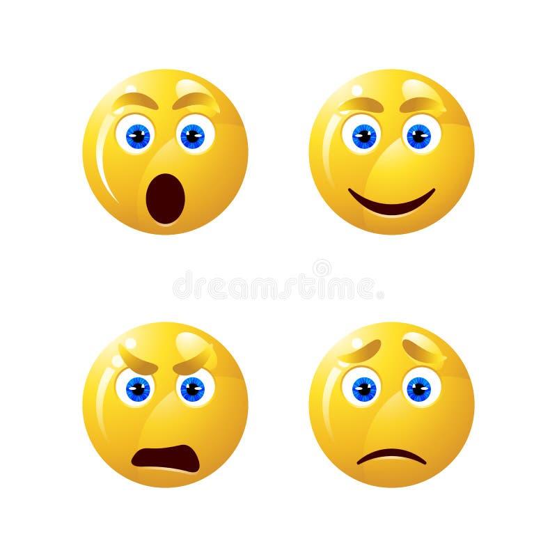 Желтый smiley смотрит на характеры emoji стоковые изображения