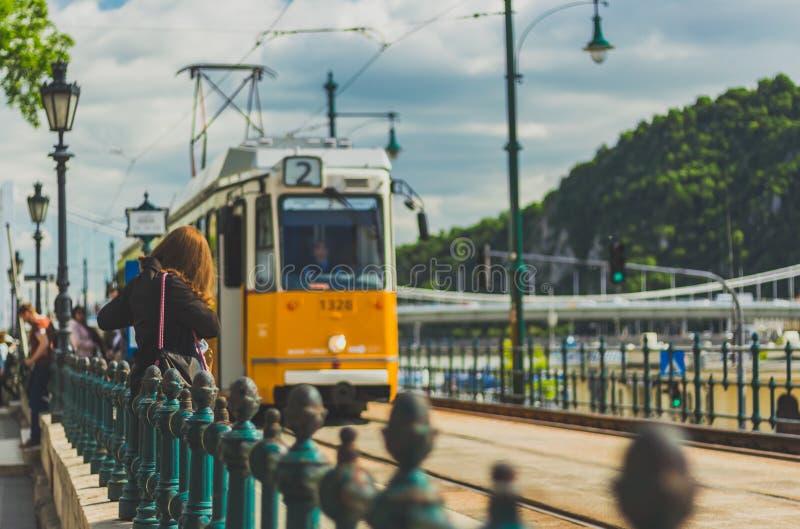 Желтый tramcar в Budapeste стоковое фото rf