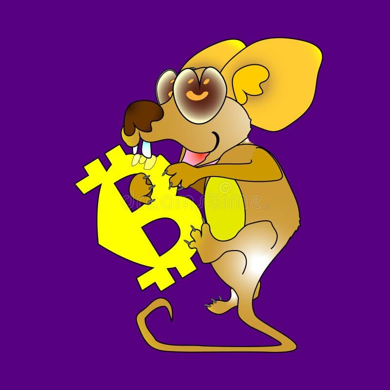Желтым голодное сдержанное значком ест мышь символ bitcoin изолированный на темноте - красной предпосылке Иллюстрация шаржа бесплатная иллюстрация