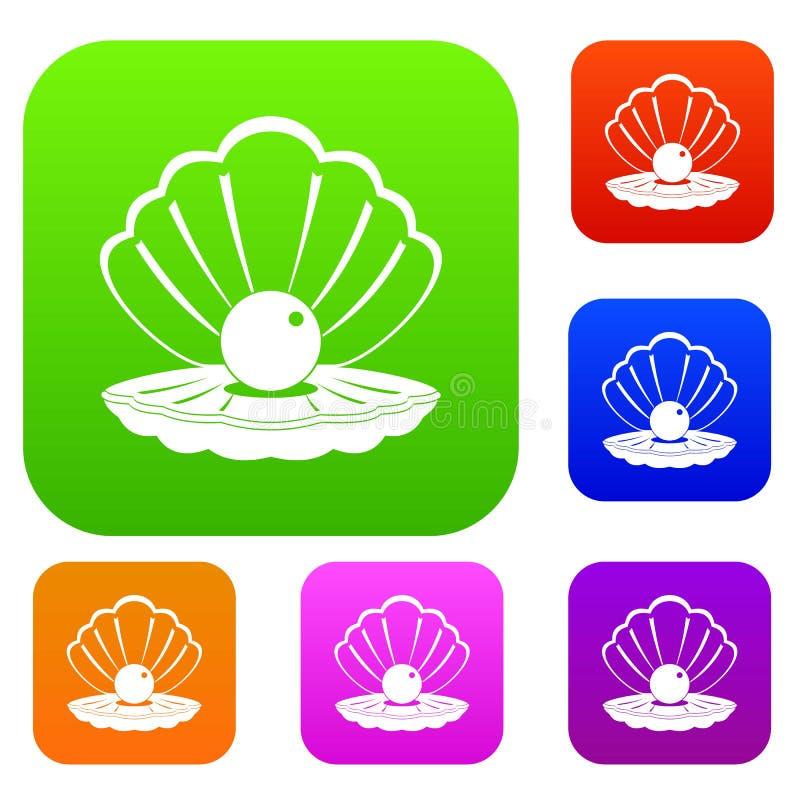 Жемчуг в собрании цвета раковины моря установленном иллюстрация штока