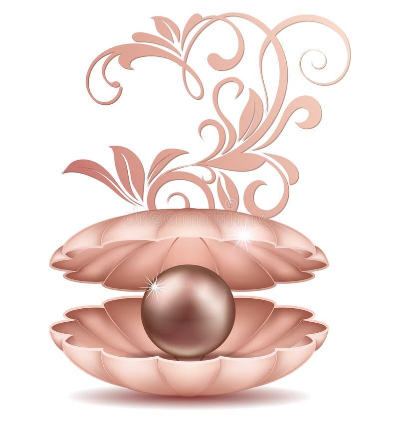 Жемчуг моря в открытой раковине Большая черная и золотая соленая вода pearls в раковине с иллюстрацией флористического орнамента иллюстрация штока