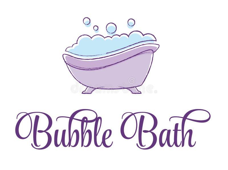 Жемчужная ванна в пурпурном ушате иллюстрация вектора