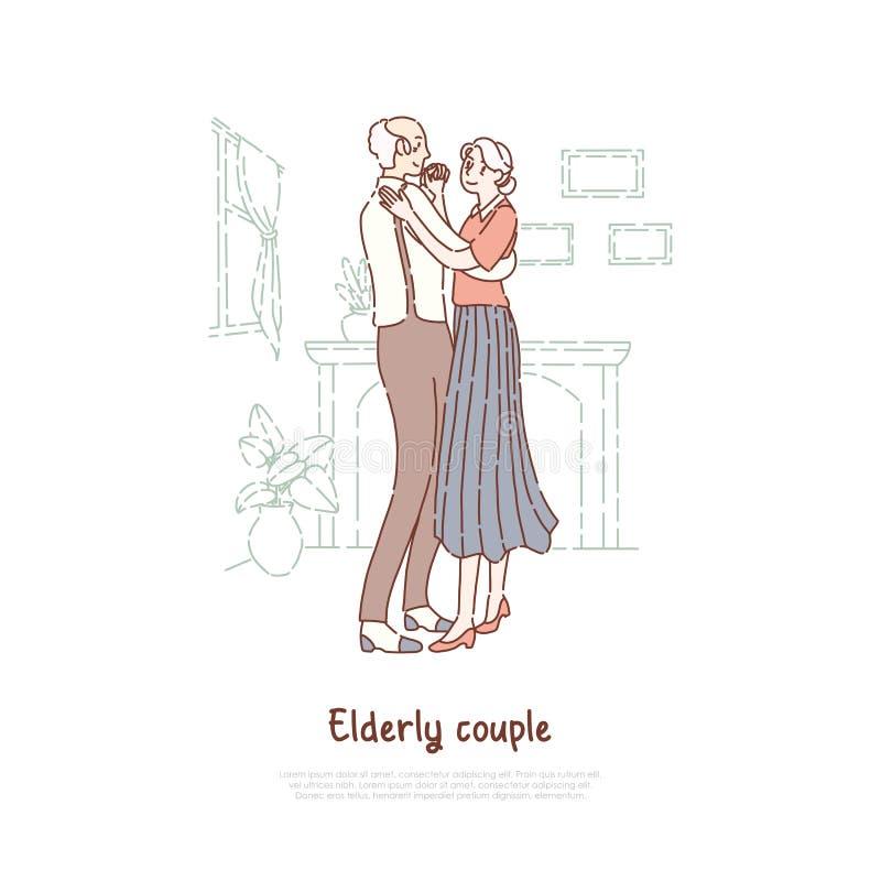 Женатые пожилые пары, старый супруг и жена вальсируя, положительный образ жизни, счастливый выход на пенсию, знамя дома престарел иллюстрация штока