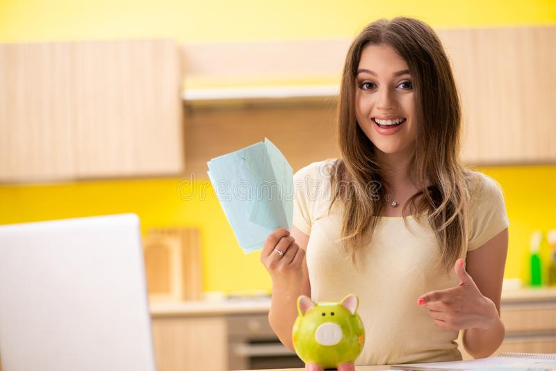 Жена молодой женщины в концепции планирования бюджета стоковая фотография rf