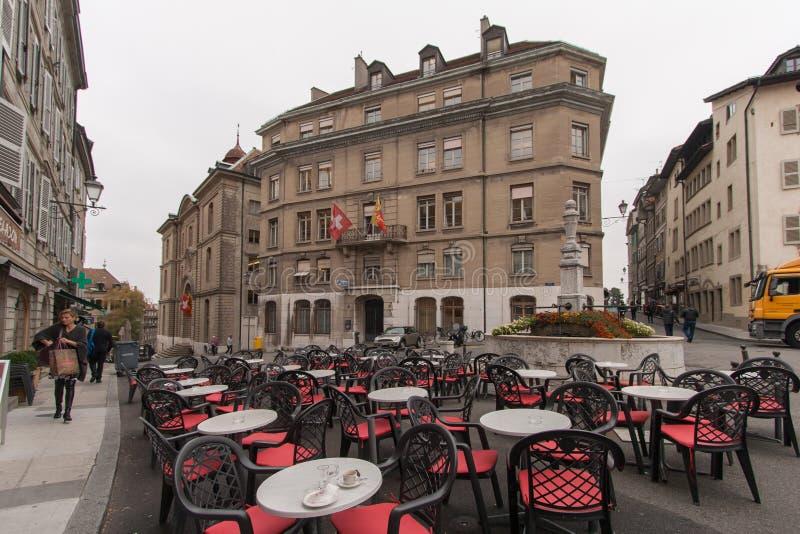ЖЕНЕВА, ШВЕЙЦАРИЯ - 30-ОЕ ОКТЯБРЯ 2015: Улица в старом городке города Женевы стоковое фото
