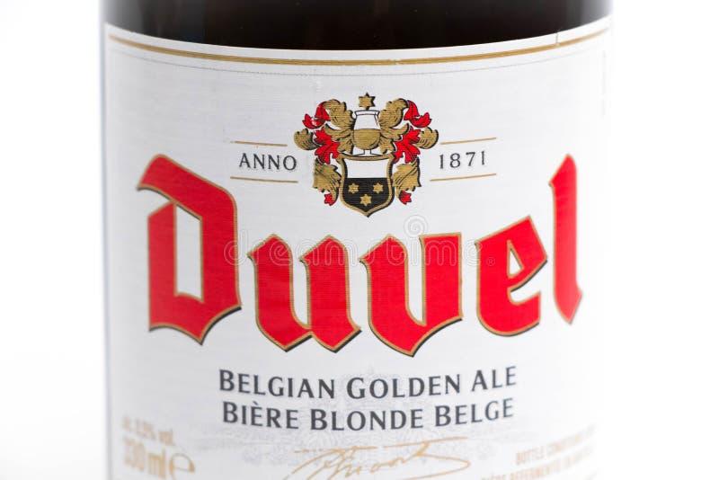 Женева/Швейцария -17 07 18: Пиво бельгийца Бельгии пива Duvel стоковые изображения rf