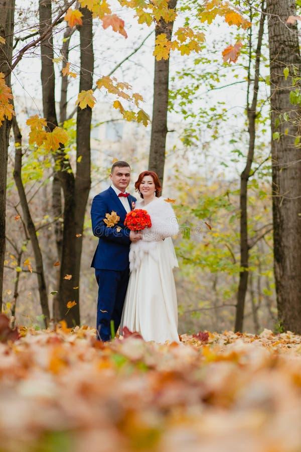 Жених и невеста и падая листья осени стоковые изображения