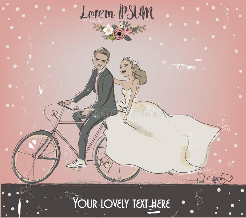 Жених и невеста на велосипеде бесплатная иллюстрация