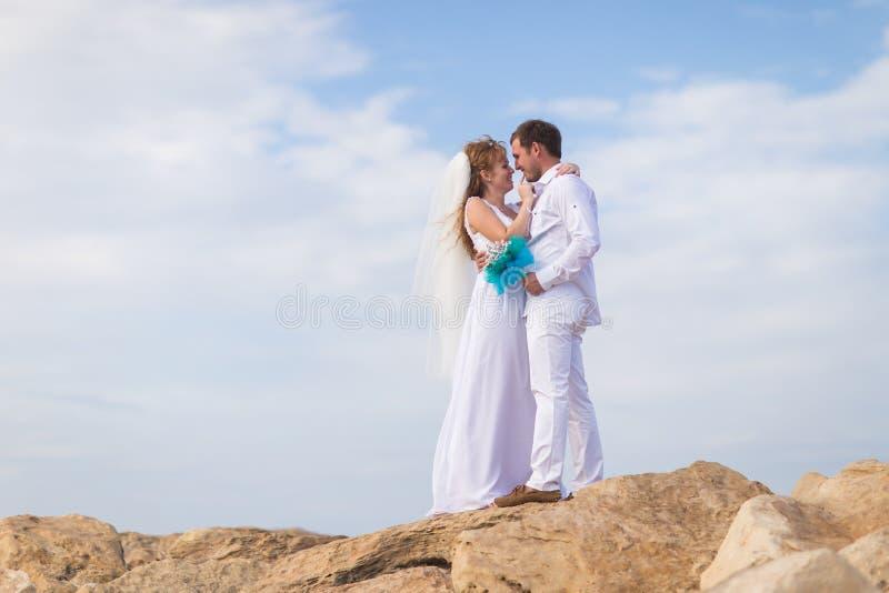 Жених и невеста на верхней части горы стоковые фото