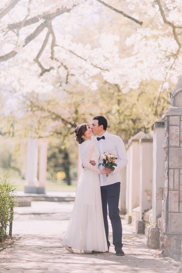 Жених и невеста на дне свадьбы обнимая Outdoors на природе весны стоковые изображения