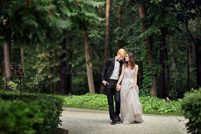 Жених и невеста на новобрачных свадьбы стоковое изображение rf