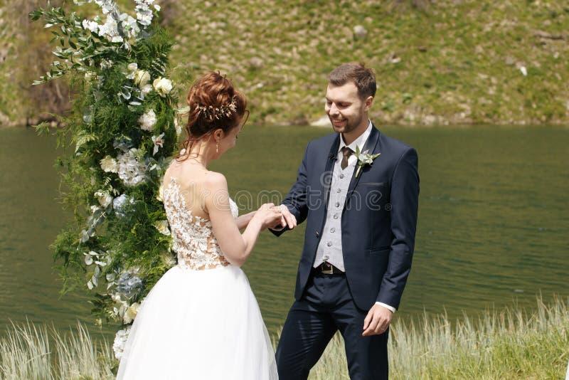 Жених и невеста на предпосылке потока горы стоковые изображения