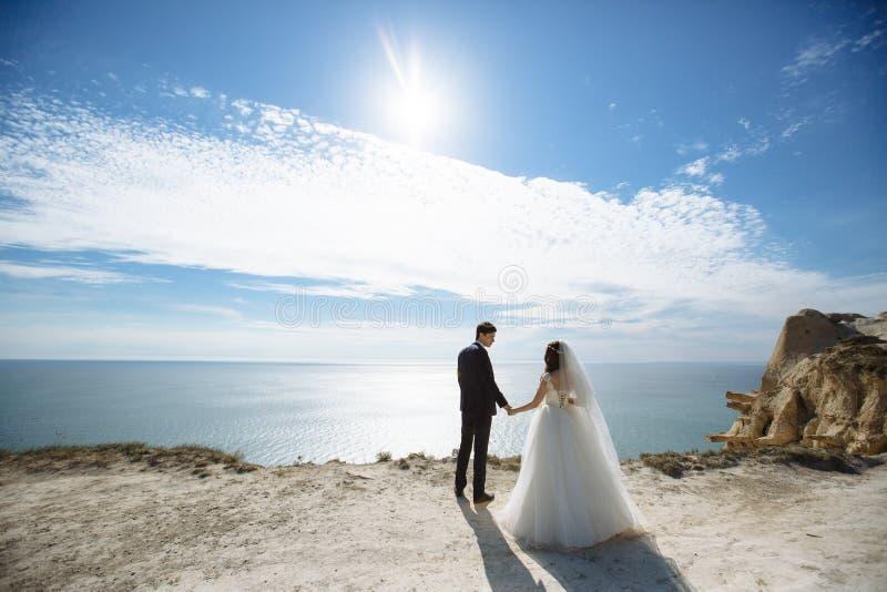 Жених и невеста стоит на скале с предпосылкой океана и голубого неба на солнечном дне стоковые изображения rf