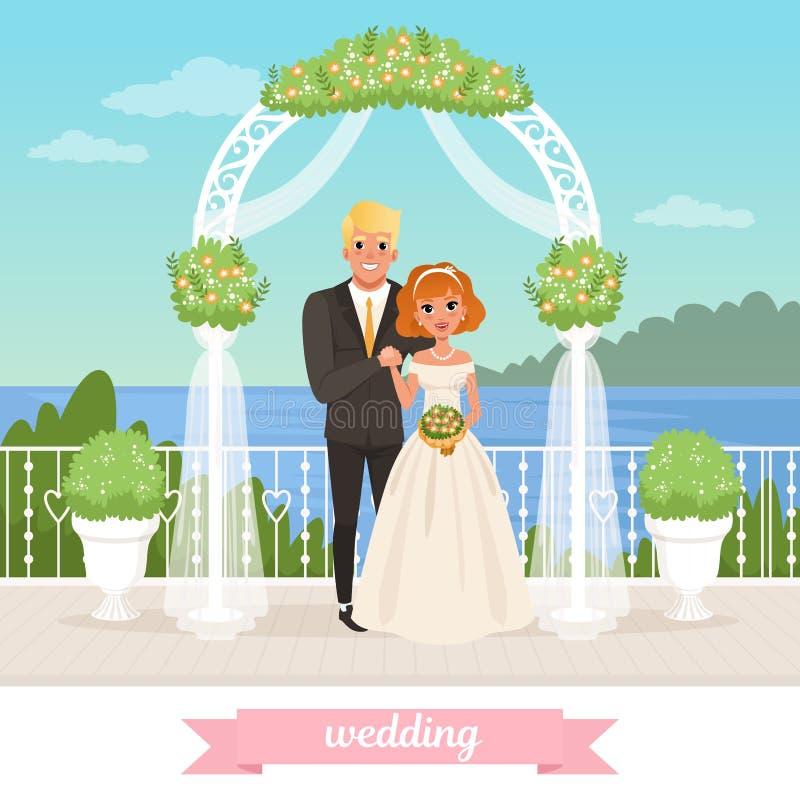 Жених и невеста стоя под флористическим сводом венчание сбора винограда дня пар одежды счастливое соедините влюбленность Женщина  иллюстрация штока