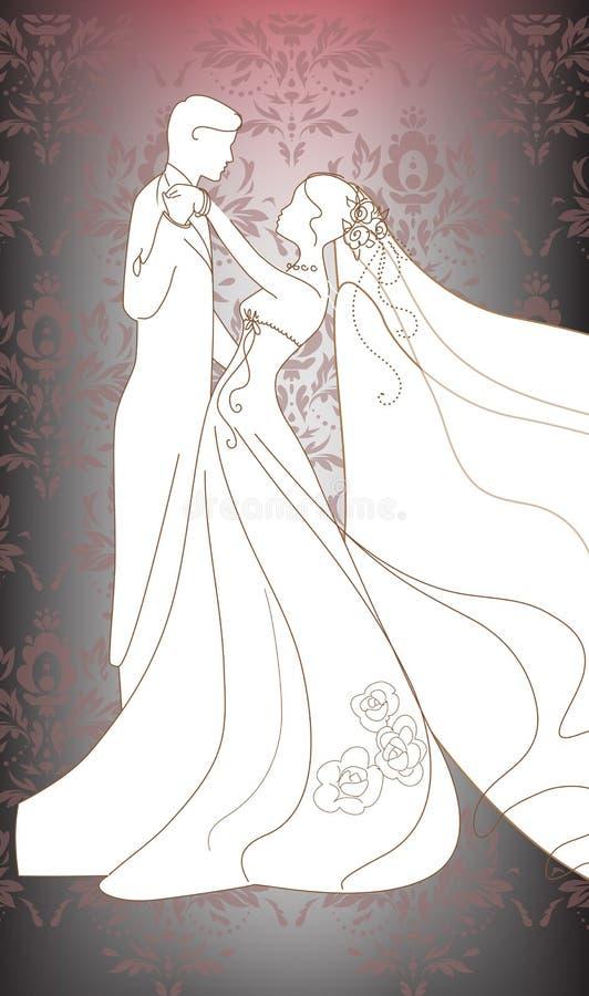 Жених и невеста танцев иллюстрация вектора