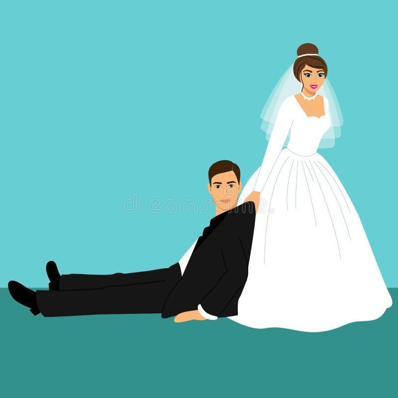 Жених и невеста, шарж иллюстрация вектора