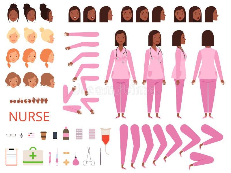 Женская анимация доктора Вектор набора творения талисмана здравоохранения частей тела и одежд характера больницы медсестры иллюстрация штока