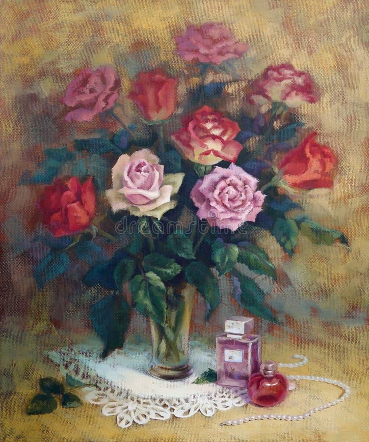 Женская все еще-жизнь с розами бесплатная иллюстрация