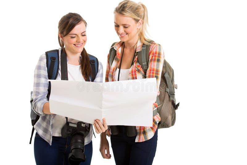 Женская карта туристов стоковые фото