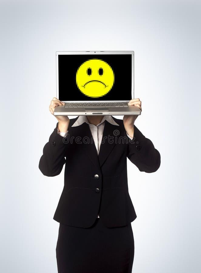женская компьтер-книжка несчастная стоковое изображение
