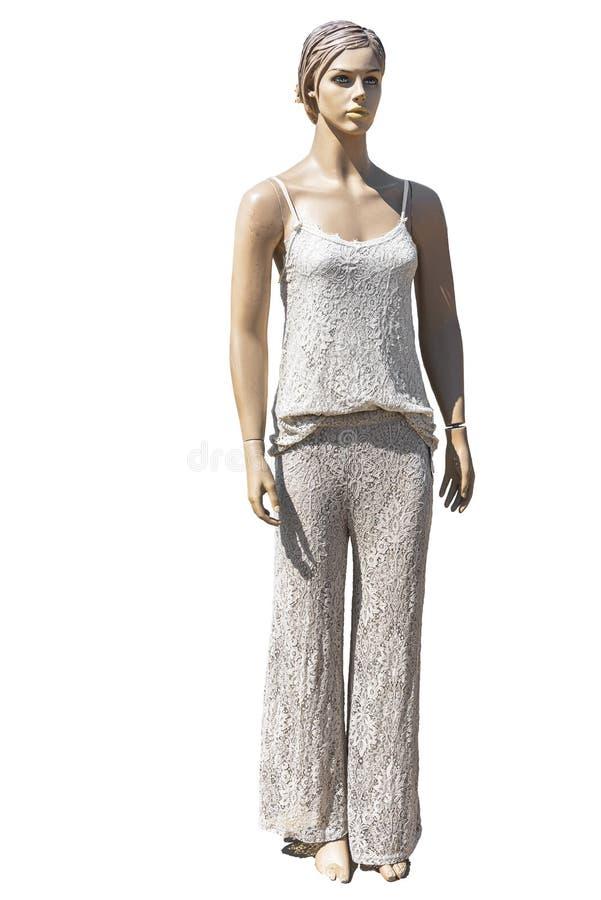Женская кукла манекена с длинными брюками и коротким свитером стоковое фото rf