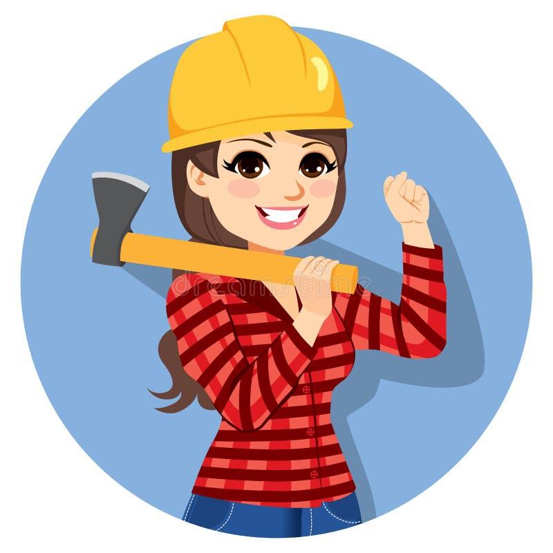 Женская ось Lumberjack иллюстрация вектора