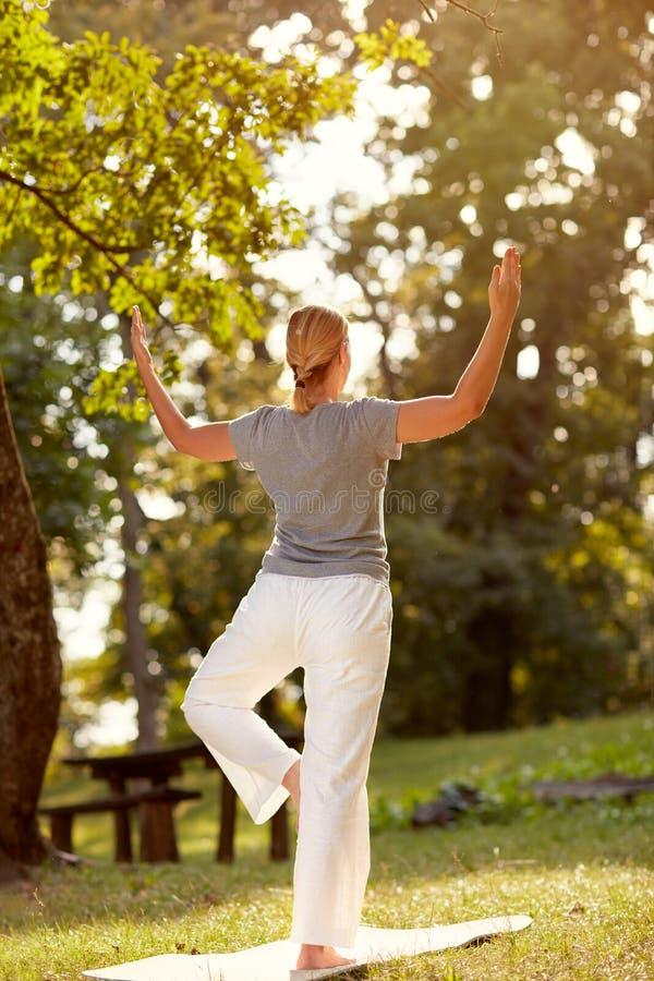 Женская персона делая тренировку в парке, задний взгляд баланса тела стоковое фото rf