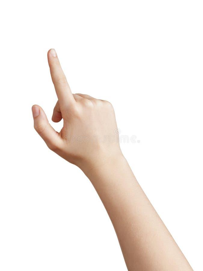 Женская предназначенная для подростков рука указывая или щелкая что-то стоковое фото rf