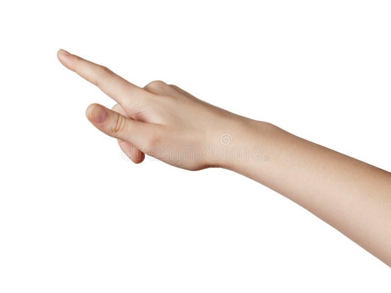 Женская предназначенная для подростков рука указывая или щелкая что-то стоковая фотография rf