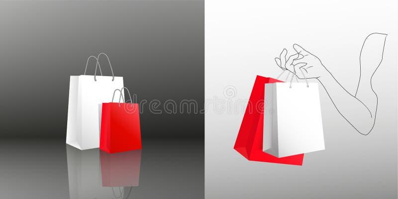 Женская рука держа 2 хозяйственной сумки 2 пакета подарка красного и белого в покрашенной руке молодой женщины Пакуя сумки с иллюстрация вектора