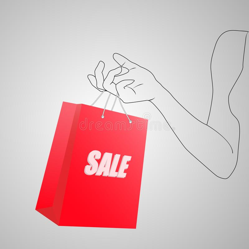 Женская рука держа яркую красную хозяйственную сумку Бумажный пакет с продажей текста в покрашенной руке молодой женщины вектор и бесплатная иллюстрация