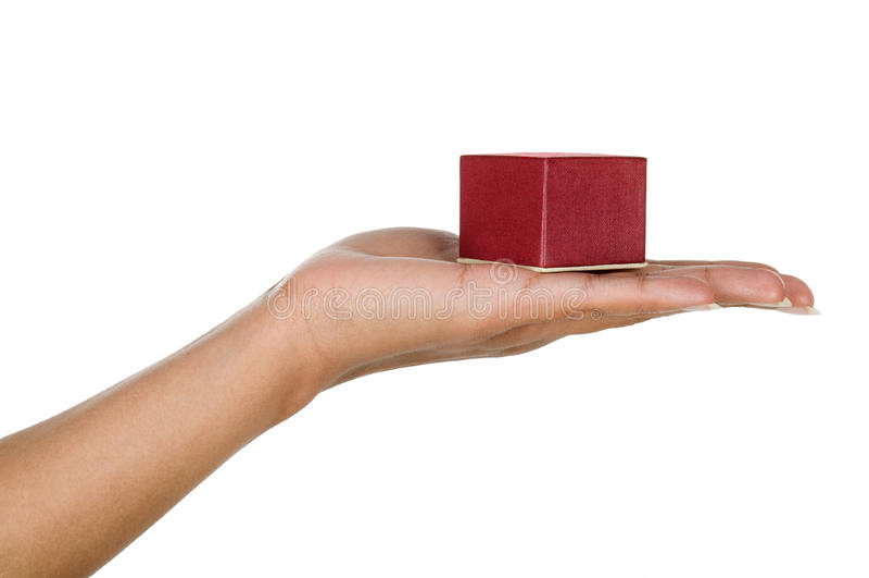 Женская рука держа маленькую коробку стоковое изображение