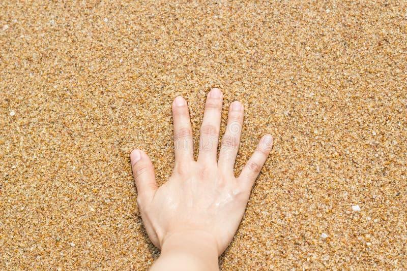 Женская рука на песке на пляже стоковая фотография rf
