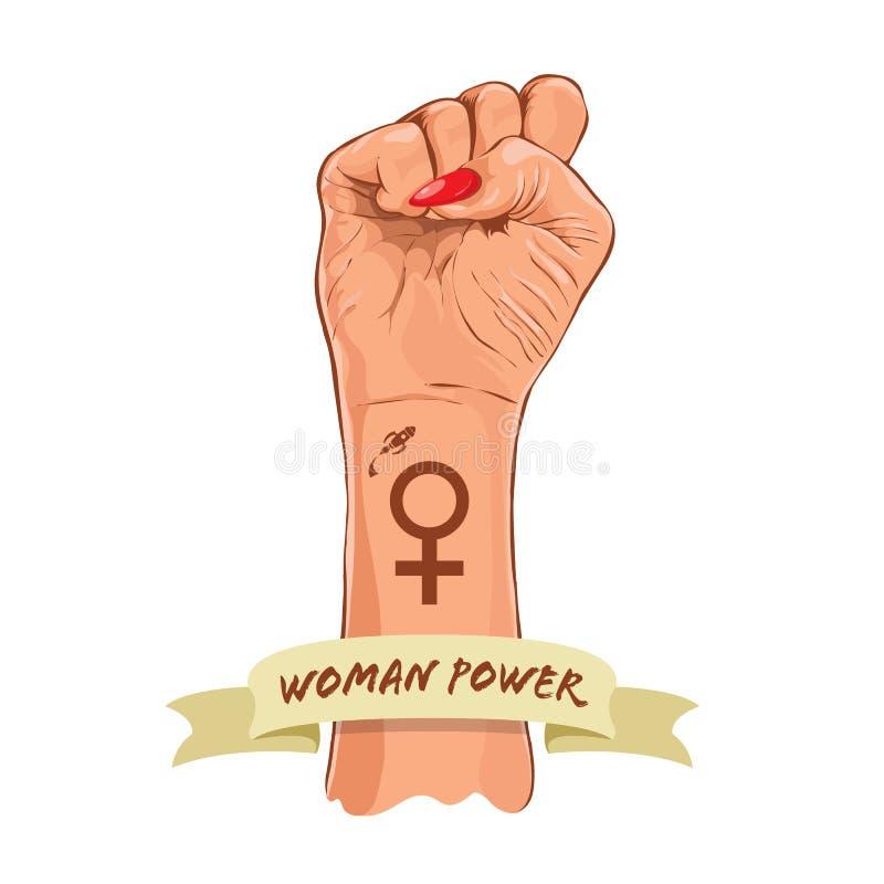 Женская сила Праздник женщин равности женщин феминизм 8-ое марта вектор бесплатная иллюстрация