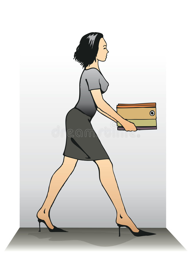 женская спеша секретарша стоковая фотография