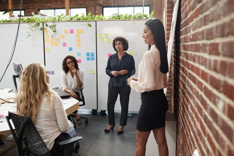 Женская творческая встреча команды для того чтобы обсудить идеи в современном офисе стоковое фото rf