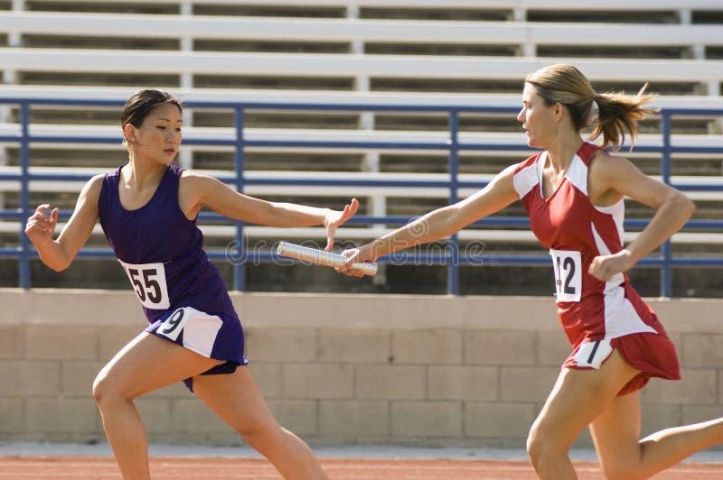 Женские бегуны в эстафетном беге стоковое изображение rf