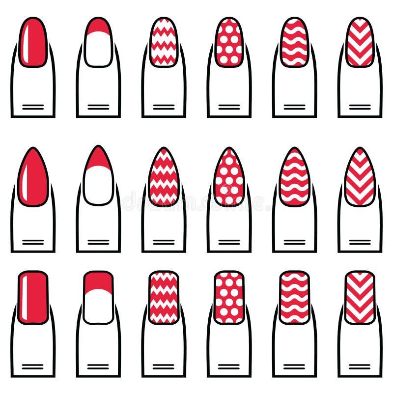 Женские гель & гибрид маникюра включая формы как миндалина, квадрат, округлили ногти с простым маникюром, французским маникюром бесплатная иллюстрация