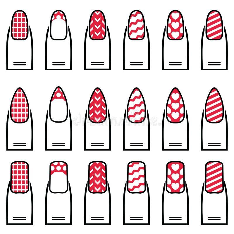 Женские гель & гибрид маникюра включая формы как миндалина, квадрат, округлили ногти с простым маникюром, французским маникюром иллюстрация вектора