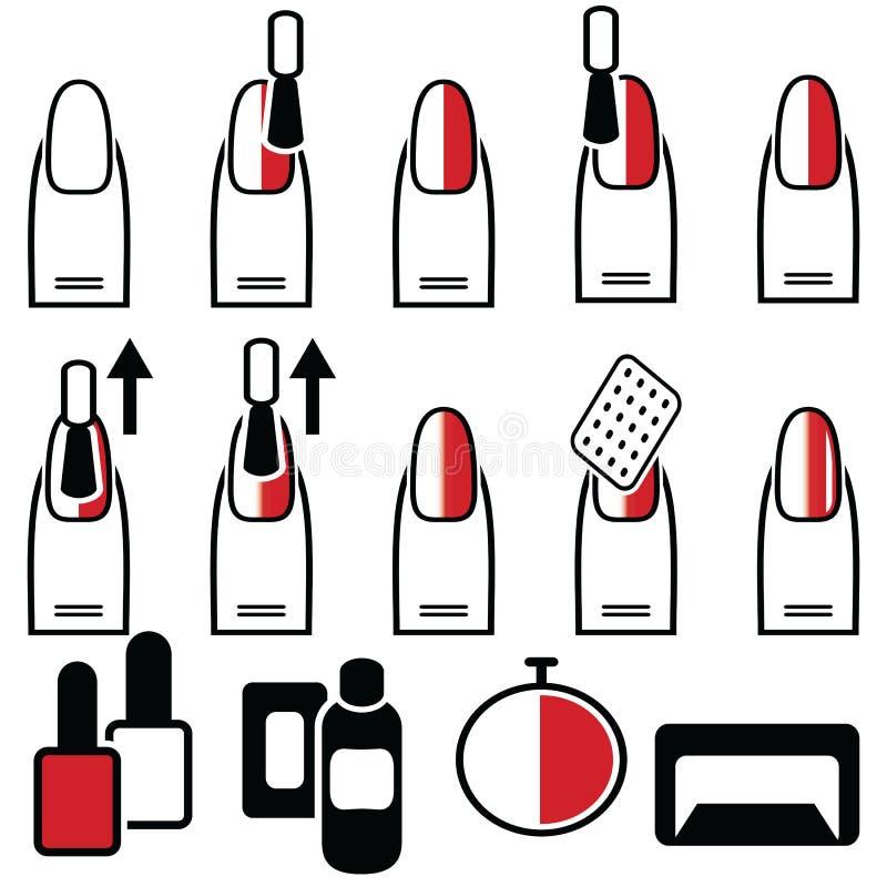 Женские гель & гибрид маникюра с вертикальным процессом украшения маникюра стиля ombre под ультрафиолетовой лампой в черноте крас иллюстрация вектора
