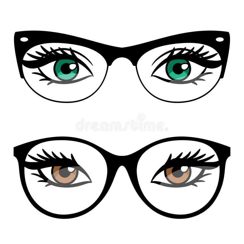 Женские глаза и стекла стиля дела иллюстрация штока